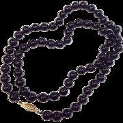 Vintage Natural Black Jade Bead Necklace w/ 14K Gold Clasp