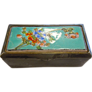 Chinese Enameled Porcelain Inlaid Engraved Hinged Silver Box