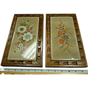 Pair of Vintage Wood Framed & Footed Rectangular Hand Painted Tiles From Spain