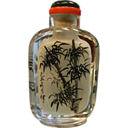 Old Hand Painted Intaglio Glass Snuff Bottle w/ Bamboo Motif