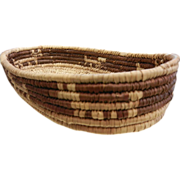 SOLD Vintage Hand Woven Native American Two-Tone Basket w/ Animal Motif
