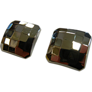 Square Disco Sterling Silver Clip Earrings .925
