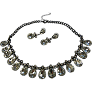 Awesome Large Faceted Crystal Glass Jewelry Set Necklace & Earrings