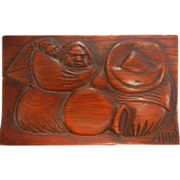 SOLD Carved Wooden Cedar Box Signed ARIAS