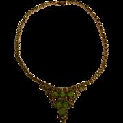 Vintage Fine Gold-Tone Choker Necklace w/ Green Rhinestones