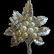 Vintage Trifari Leaf Brooch w/ Faux-Pearls & Rhinestones