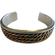Vintage Heavy Solid Sterling Designer Cuff Bracelet w/ Gold Filled Rope Details