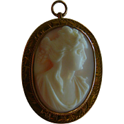 Vintage Hand Carved Cameo Cabochon w/ 10K Gold Pendent/Brooch