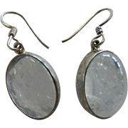 Gorgeous Sterling Silver Hook Earrings w/ Natural Moonstone Cabochons