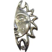 Large Sun Brooch in Sterling Silver and White Rhinestone
