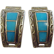 Vintage Ladies Southwestern Style Sterling Silver and Turquoise Watch Ends