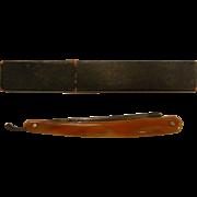 Vintage German Solingen Straigth Razor Marble Brown Color