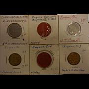 Set of 6 Vintage Recreation Tokens from Eugene, OR