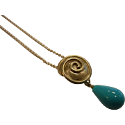 Lovely Silver-Tone Chain Necklace w/ Unique Spiral Pendent