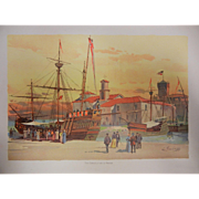 "Rare Antique Chromolithograph The World's Fair in Watercolors - ""The Caravels and La Rabi"