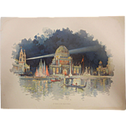 "Rare Chromolithograph The World's Fair in Watercolors - ""At Night In The Grand Court"""