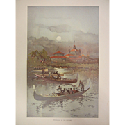 """Fine Chromolithograph The World's Fair in Watercolors - """"Moonlight On The Lagoons"""" b"""