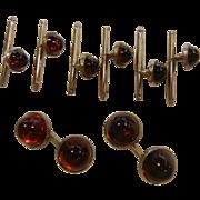 Vintage Red Glass & Silver-Tone Cuff Links & Tuxedo Shirt Studs 8-Piece Set