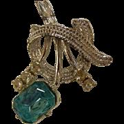 Vintage Silver-Tone Costume Jewelry Brooch w/ Blue Rhinestone