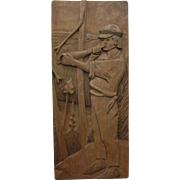 Signed Natural Wood Carved Wall Plaque T. Alikylo SUOMI