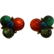 Vintage CORO Clip Earrings w/ Red Blue & Green Moonglow Beads