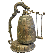 Vintage Sand Cast Bronze Temple Bell Incense Burner w/ Dragon Motif