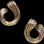 Fabulous Sterling Silver Stud Earrings w/ Twisted Hoop Design