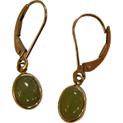 Signed 14K Gold Earrings w/ Jade Cabochons