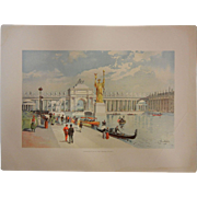 """SOLD Rare Antique Chromolithograph The World's Fair in Watercolors - """"Looking East in the"""