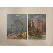 "Rare Antique Chromolithograph The World's Fair in Watercolors - ""Ferris Wheel"" and """