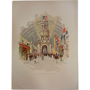 "Original Chromolithograph The World's Fair in Watercolors - ""Interior of Manufacturers an"