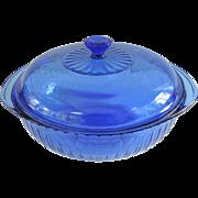 SALE Pyrex 1970's Cobalt Blue Glass Ribbed Casserole Dish ~ 2 Qt.-2L