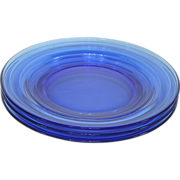 "SOLD Hazel Atlas Moderntone 1930's Cobalt Blue Glass 7"" Salad/Cream Soup Plates ~ Set of"
