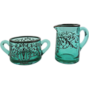 REDUCED Early 1900's Marked Sterling Teal Glass Grecian Motif Creamer and Sugar