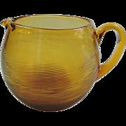 SALE Mid Century Modern Amber Optic Swirl Hand Blown Glass Pitcher