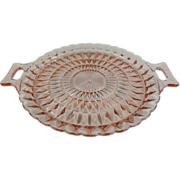 SALE Jeannette Windsor Diamond Pink Depression Glass Tray with Handles