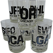 SALE Mid-Century Modern Airport Code Highball Glasses ~ Set of 8