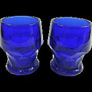 SALE Hazel Atlas Georgian Cobalt Blue Glass Tumblers, Set of 2