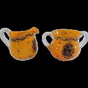 SALE Mid-Century Orange, Black and Clear Glass Creamer/Sugar Set