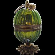 REDUCED Art Deco Murano Venetian Italian Green Glass Lighter ~ RARE Fratelli Toso