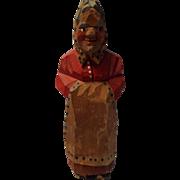 Vintage Hand Carved Woman Figurine, Anri