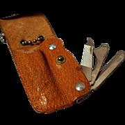 Vintage Leather Encased Pocket Knife, Bassett Co., Derby Conn.