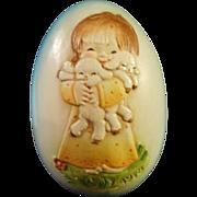Anri  Italian, hand carved and painted wooden egg, marked Ferrandiz