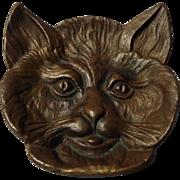 SOLD Vintage Bronze Cat Dish