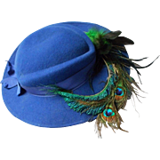 Vintage Royal Blue Felt Hat with Ostrich Feather