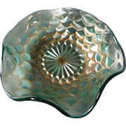 Gorgeous Turquoise Colored Iridescent Carnival Glass Bowl