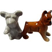 Two Miniature Doll House Size Porcelain Dogs