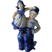 Old German All Bisque Blue & White Figurine Dutch Man and Girl, Marked
