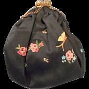 Antique 5.5 inch petit point purse