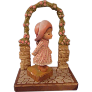 Anri  Italian, hand carved and painted Girl
